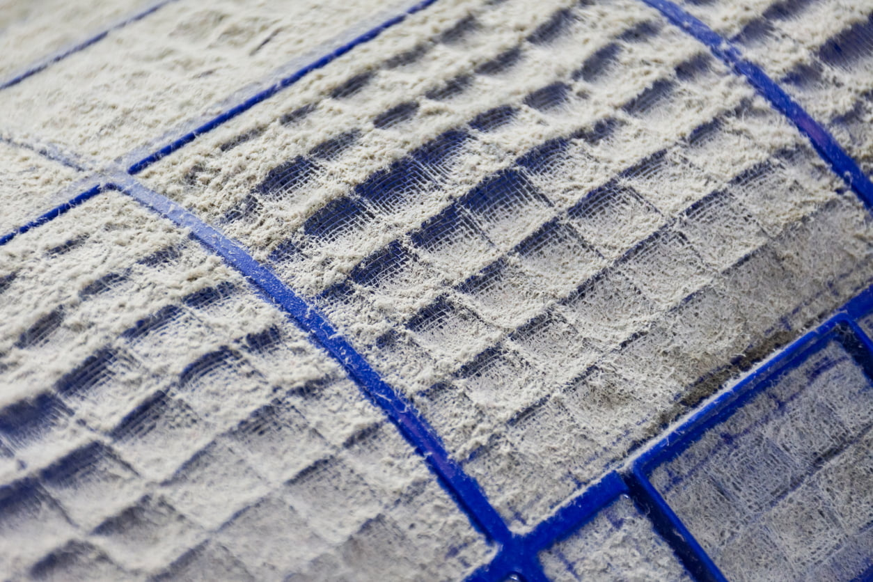 Close up of dust and dirty on air conditioner filter.