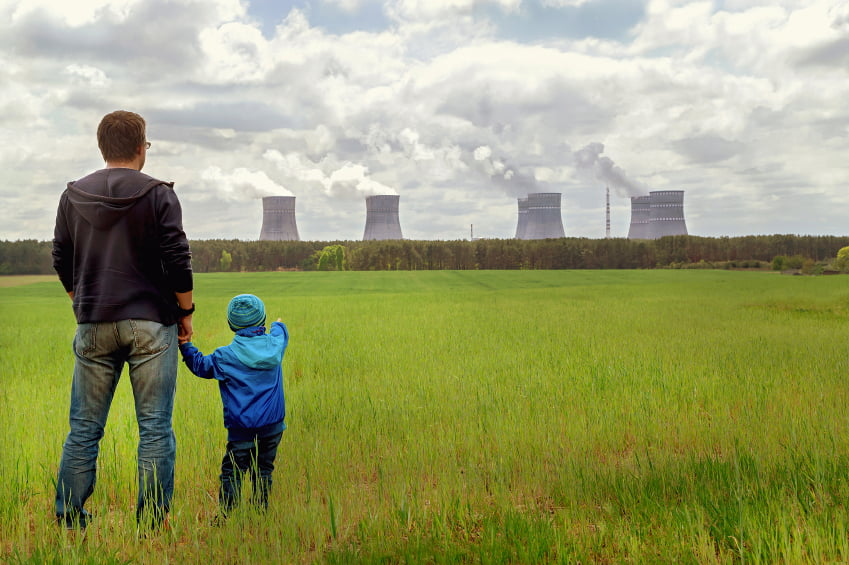 Pollution. Environmental problem. Father and his son looking on