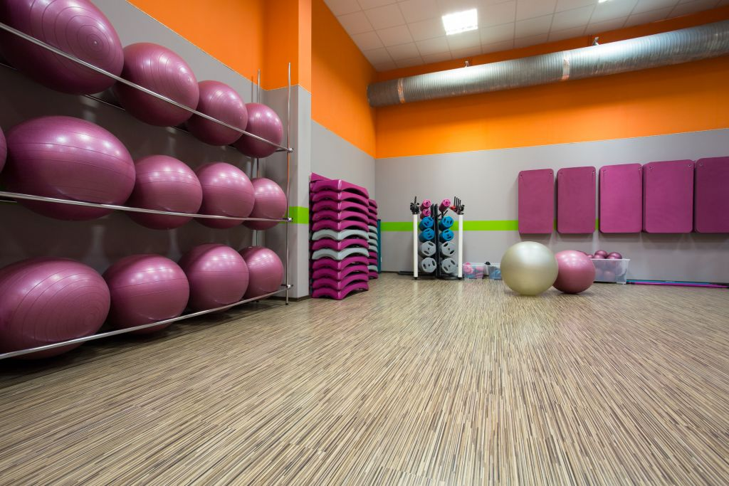 Equipped gym at fitness center